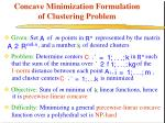 concave minimization formulation of clustering problem