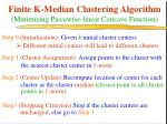 finite k median clustering algorithm minimizing piecewise linear concave function