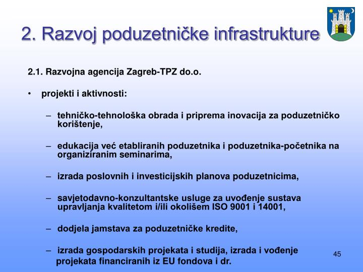 2. Razvoj poduzetničke infrastrukture
