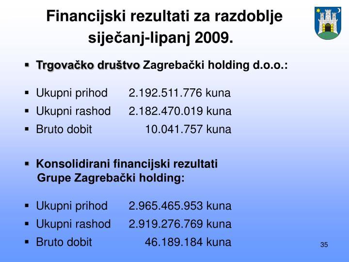 Financijski rezultati za razdoblje siječanj-lipanj 2009.
