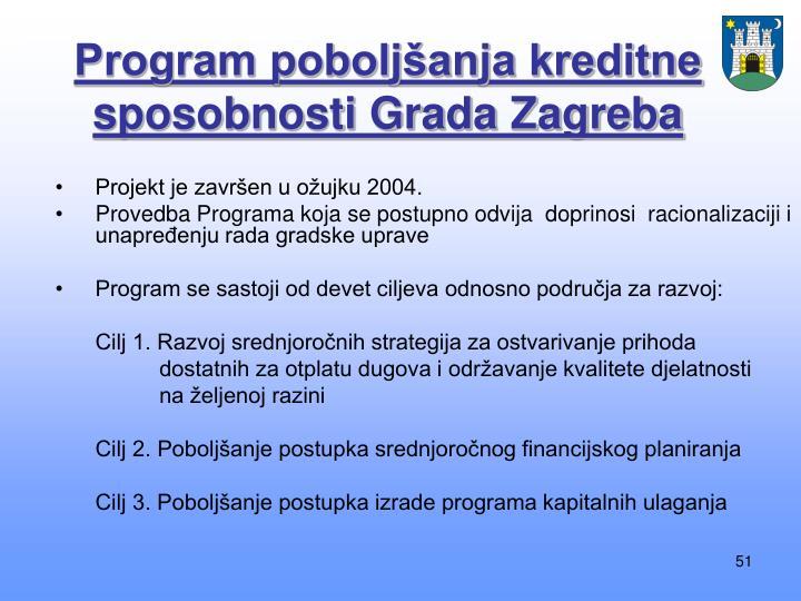 Program poboljšanja kreditne sposobnosti Grada Zagreba