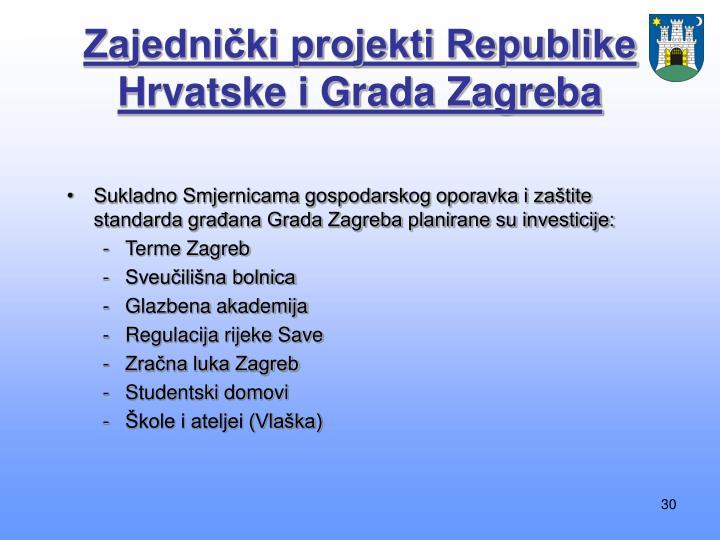 Zajednički projekti Republike Hrvatske i Grada Zagreba