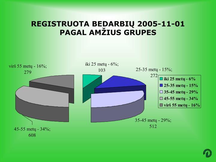 REGISTRUOTA BEDARBIŲ 2005-11-01 PAGAL AMŽIUS GRUPES