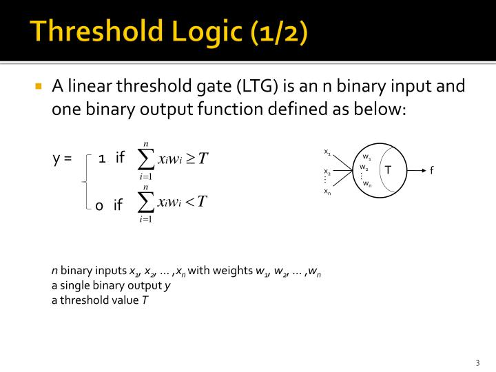 Threshold logic 1 2