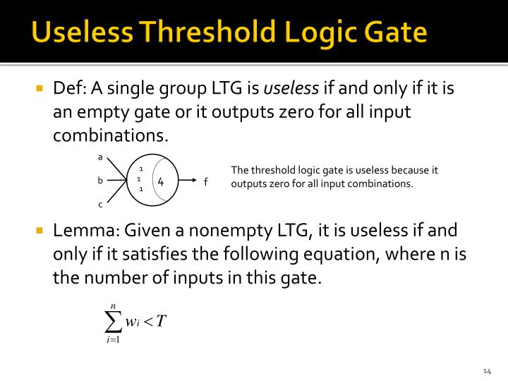 Useless Threshold Logic Gate