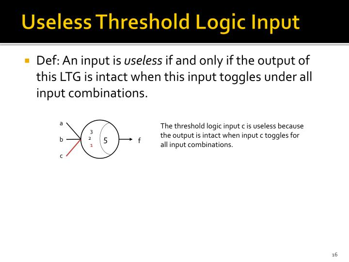 Useless Threshold Logic Input