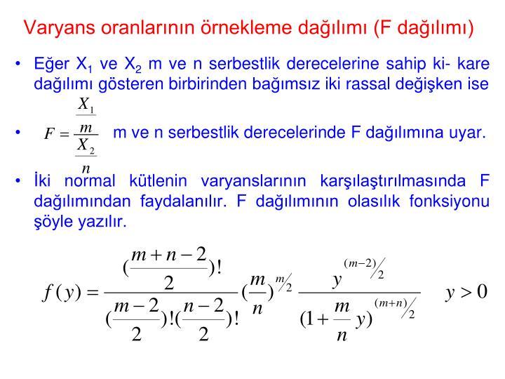 Varyans oranlarının örnekleme dağılımı (F dağılımı)