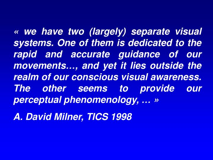 « we have two (largely) separate visual systems. One of them is dedicated to the rapid and accurate guidance of our movements…, and yet it lies outside the realm of our conscious visual awareness. The other seems to provide our perceptual phenomenology, … »