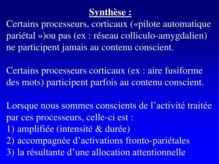 Synthèse :