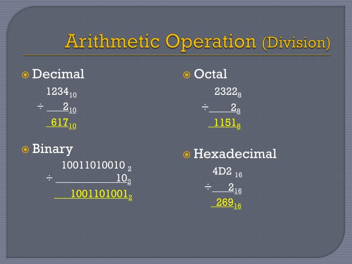 Arithmetic Operation