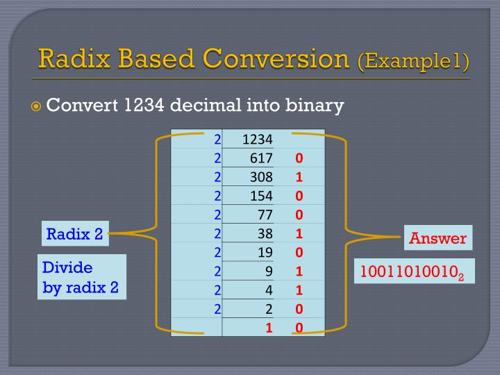 Radix Based Conversion