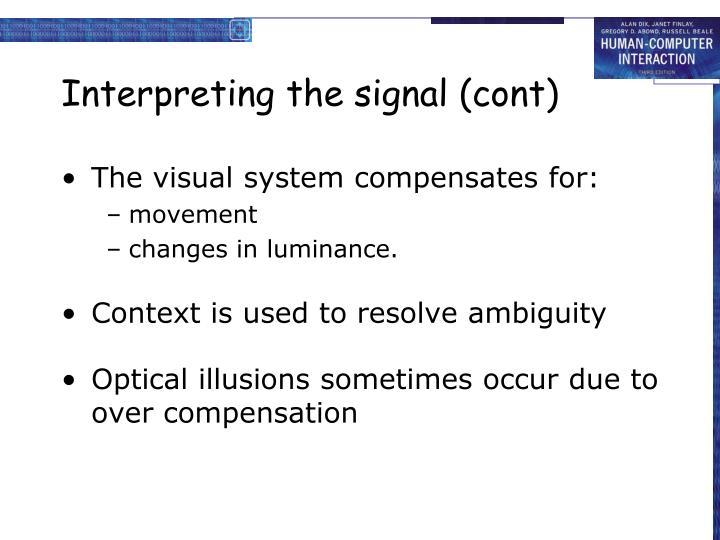 Interpreting the signal (cont)