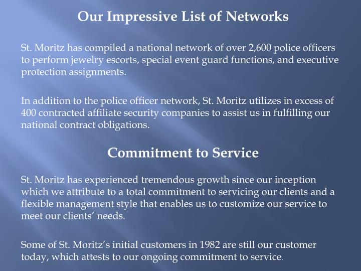 Our Impressive List of Networks