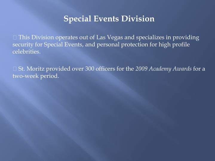Special Events Division