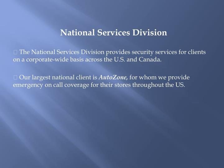 National Services Division