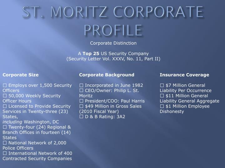 ST. MORITZ CORPORATE PROFILE