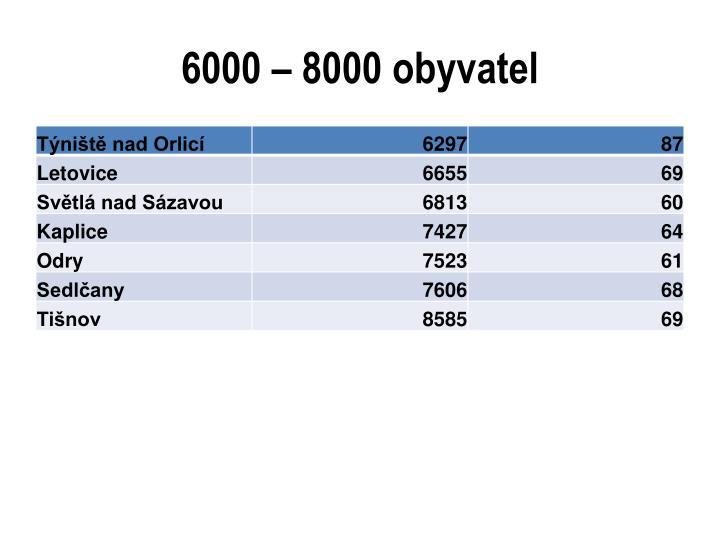6000 – 8000 obyvatel