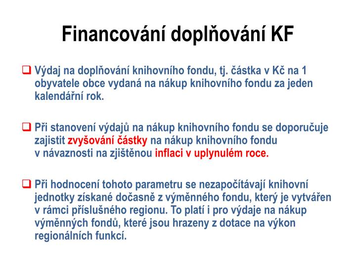 Financování doplňování KF