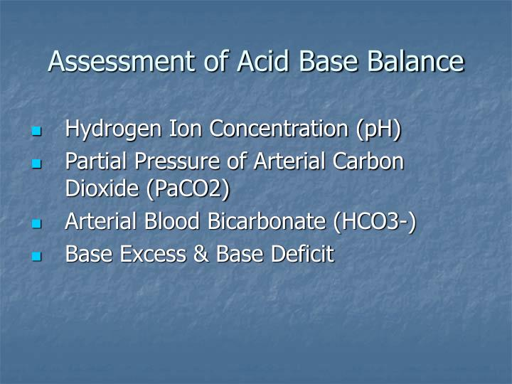 Assessment of Acid Base Balance
