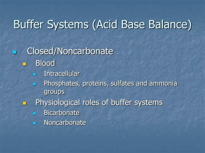 Buffer Systems (Acid Base Balance)