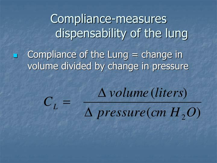 Compliance-measures dispensability of the lung