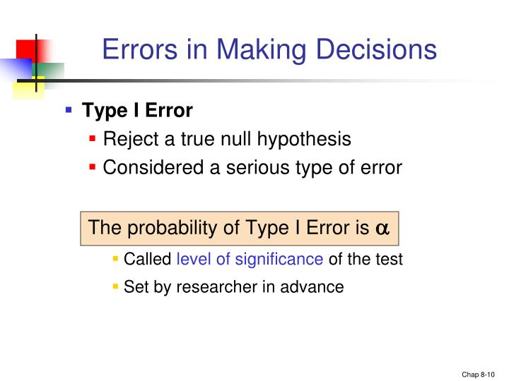 Errors in Making Decisions