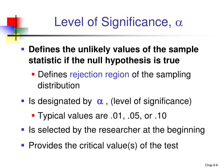 Level of Significance,