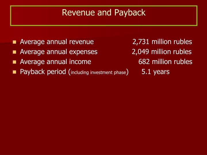 Revenue and Payback