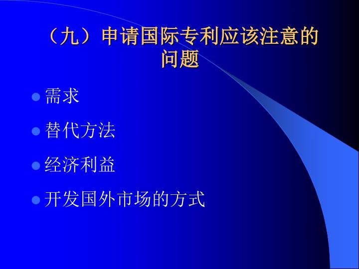 (九)申请国际专利应该注意的问题