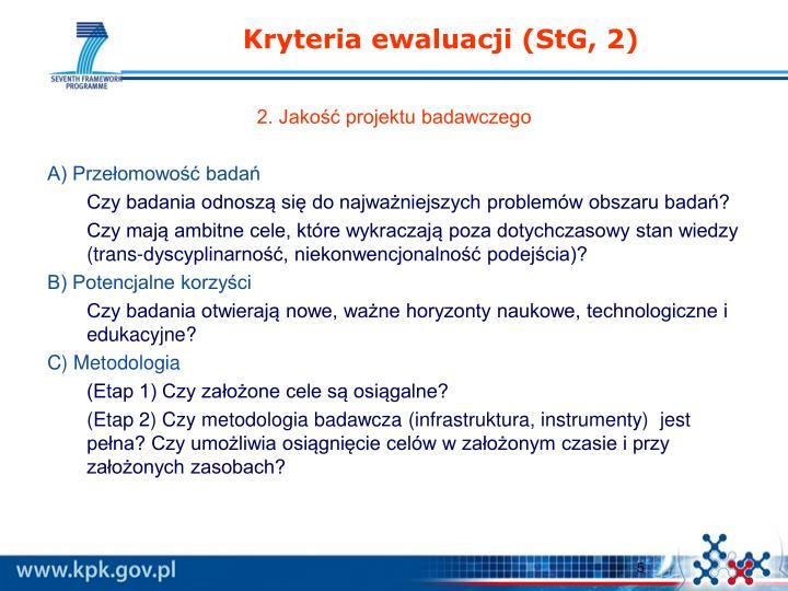 Kryteria ewaluacji (StG, 2)