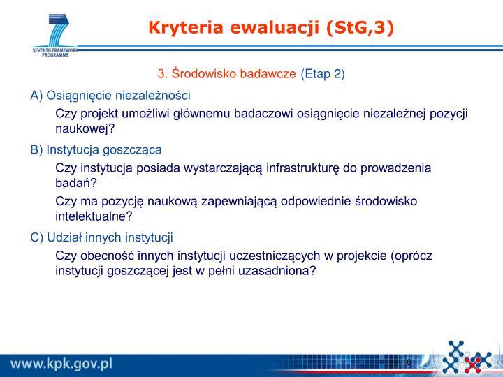 Kryteria ewaluacji (StG,3)