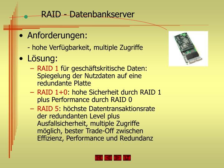 RAID - Datenbankserver