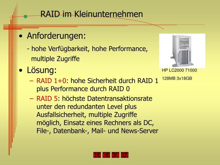 RAID im Kleinunternehmen