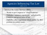 agencies influencing tax law slide 1 of 4