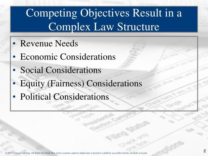 Competing objectives result in a complex law structure