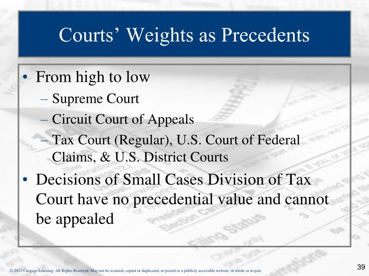 Courts' Weights as Precedents