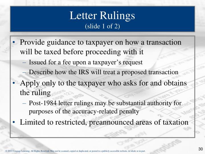 Letter Rulings