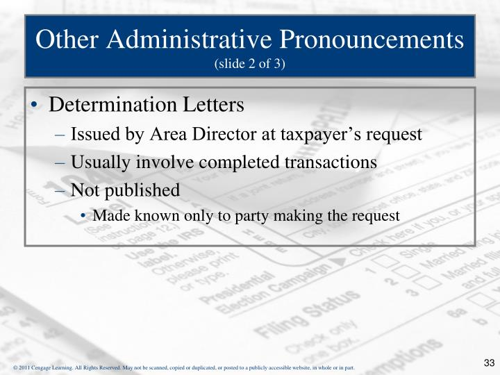 Other Administrative Pronouncements