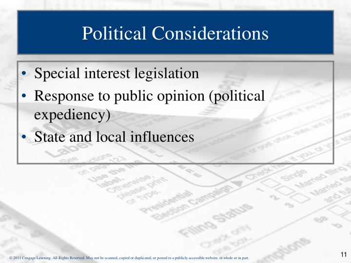 Political Considerations