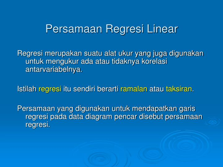 Persamaan Regresi Linear