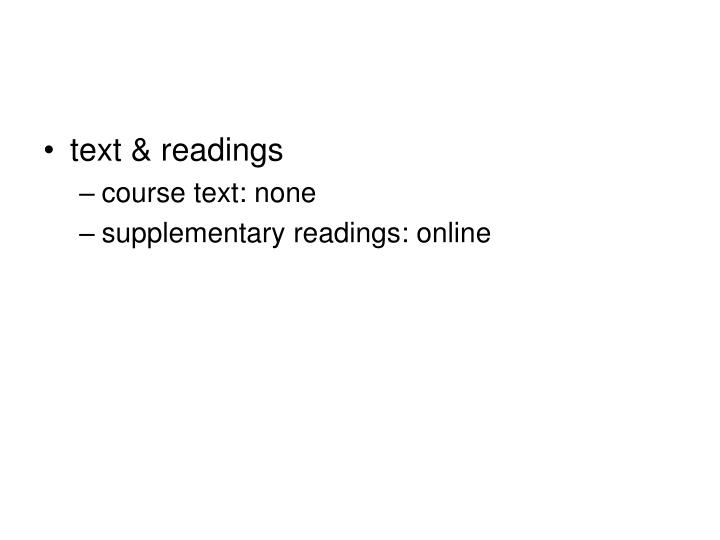 text & readings