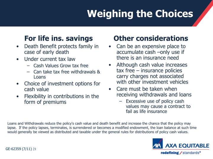 For life ins. savings