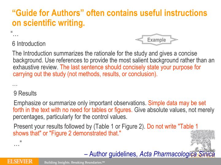 """Guide for Authors"" often contains useful instructions on scientific writing."