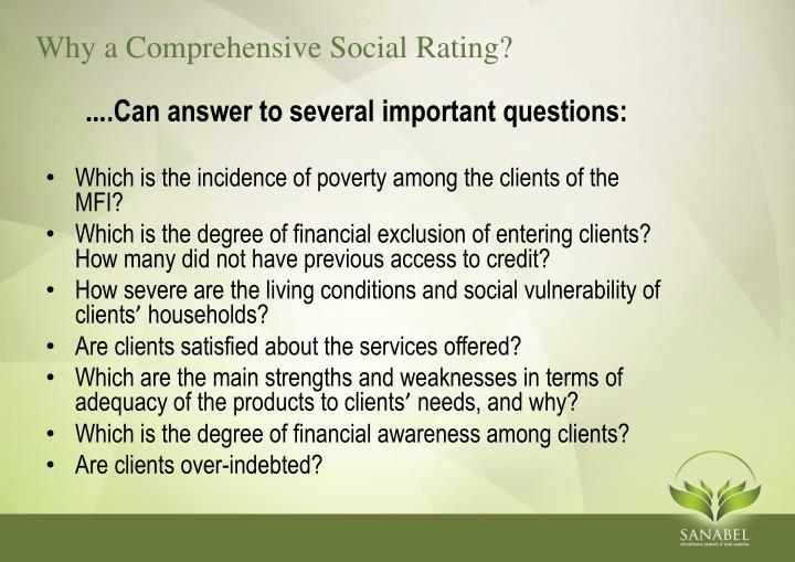 Why a Comprehensive Social Rating?