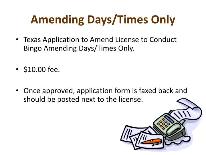 Amending Days/Times Only