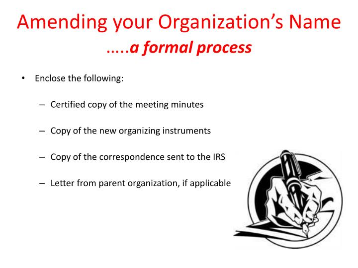 Amending your Organization's Name