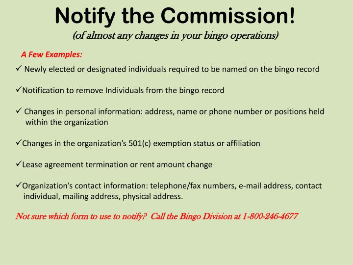 Notify the Commission!
