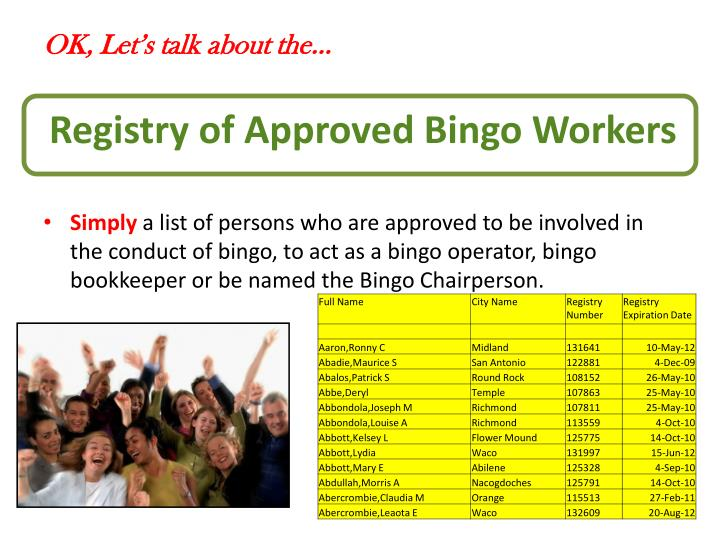 Registry of Approved Bingo Workers