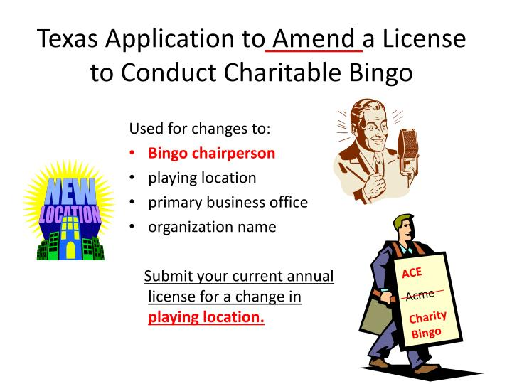 Texas Application to Amend a License to Conduct Charitable Bingo