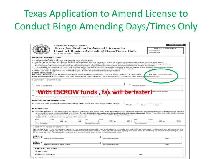Texas Application to Amend License to Conduct Bingo Amending Days/Times Only
